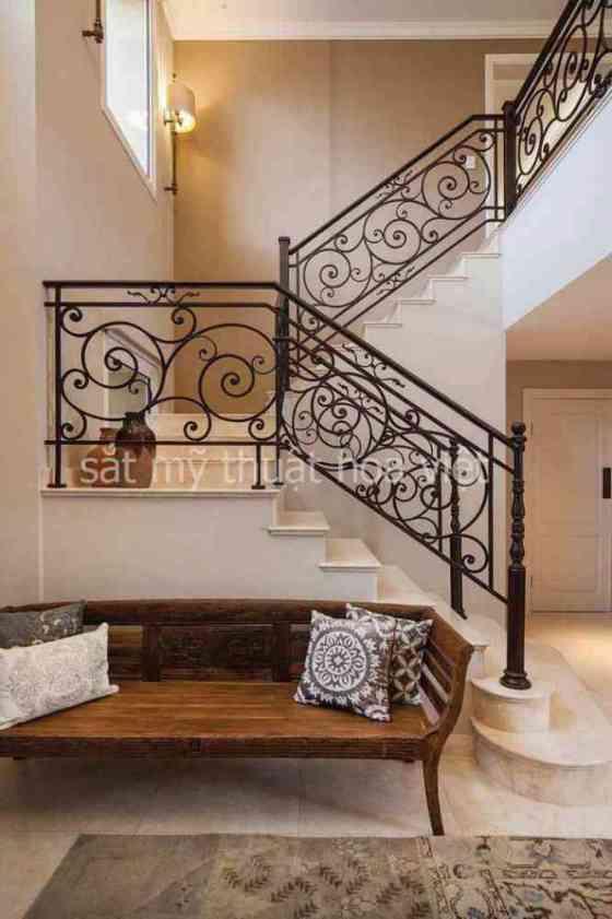 Mẫu cầu thang sắt đơn giản hình hộp họa tiết đẹp
