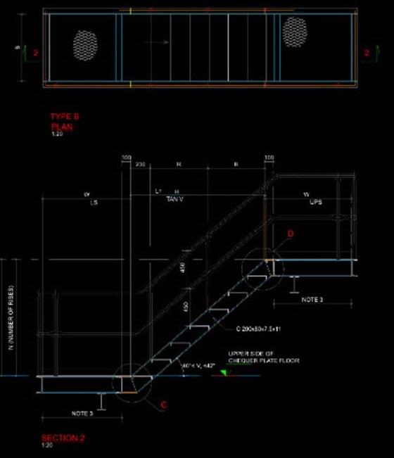 Bản vẽ chi tiết cầu thang sắt thoát hiểm
