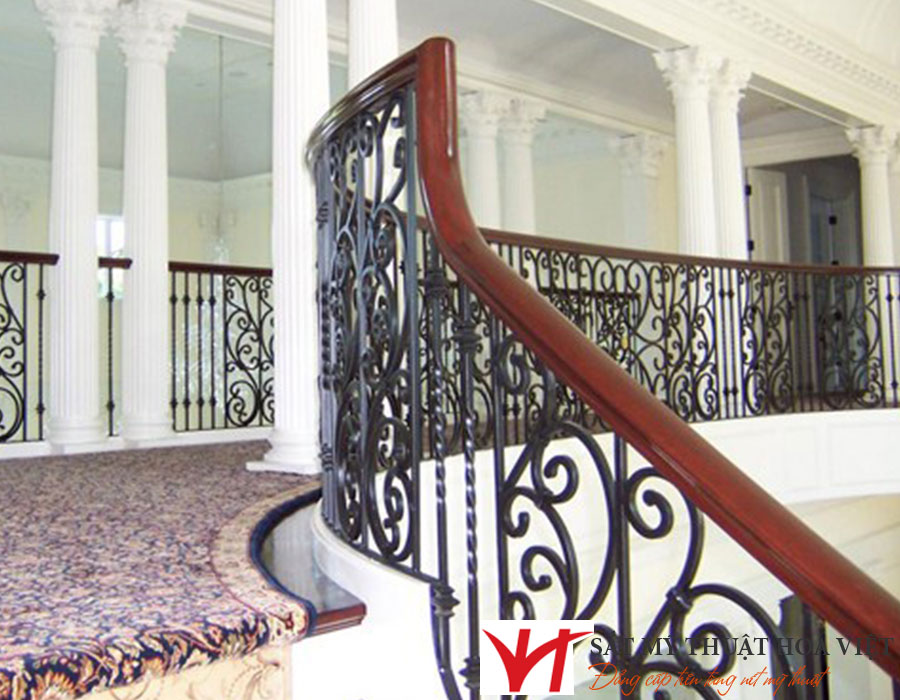 Mẫu lan can cầu thang sắt hộp nhà phố hiện đại